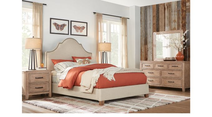 Alpine Lake WAsh (gray) ed Oak 7 Pc Queen Upholstered Bedroom - Transitional