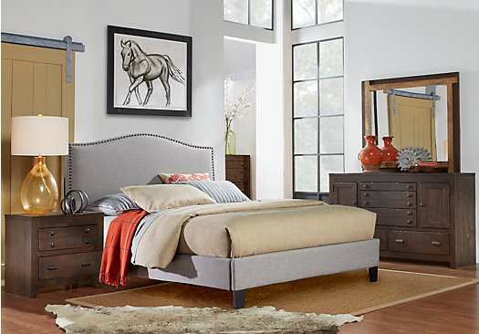 Asher Coffee 5 Pc Queen Bedroom With Silver Upholstered Bed