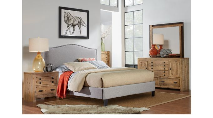 Ash (gray) er Driftwood (brownish gray)  5 Pc Queen Bedroom with Silver Upholstered Bed - Transitional