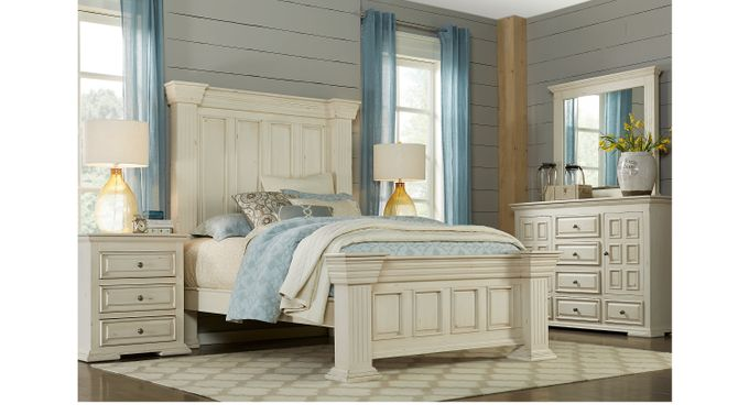 Ash (gray) worth Ivory (off-white)  5 Pc Queen Panel Bedroom - Rustic