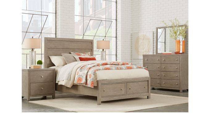 Barringer Place Gray 7 Pc Queen Panel Bedroom with Storage - Contemporary