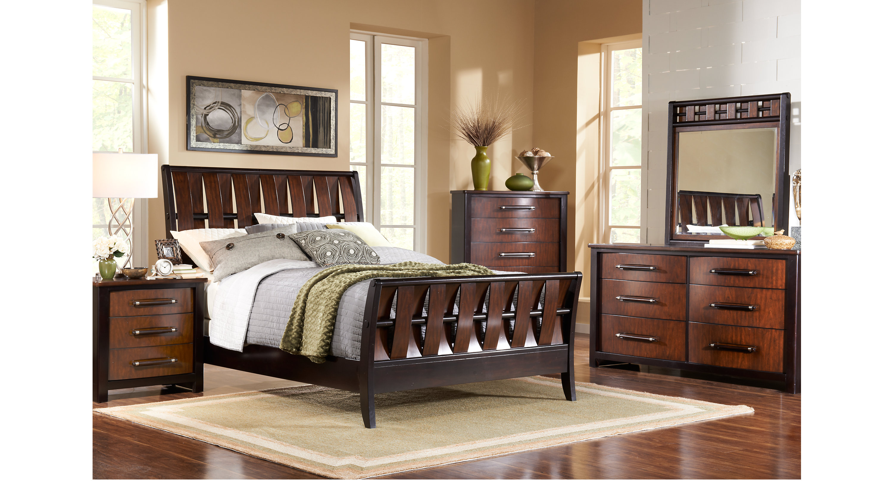 Bedford Heights Cherry 5 Pc King Sleigh Bedroom
