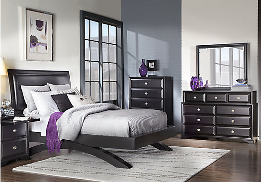 Belcourt Black 5 Pc Queen Platform Bedroom Contemporary