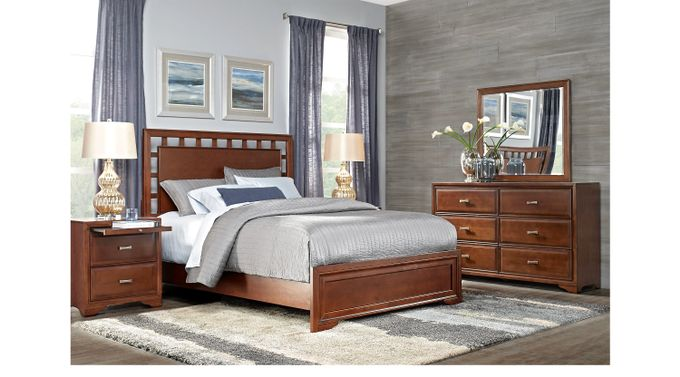 Belcourt Cherry 7 Pc Queen Lattice Bedroom - Panel - Contemporary