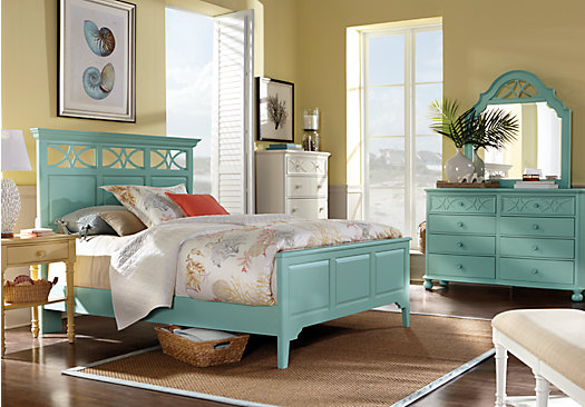 Cindy Crawford Home Seaside Blue/Green Panel 5 Pc Queen Bedroom