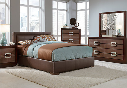 Rooms To Go Mattress >> City View Merlot (reddish brown) 5 Pc Queen Upholstered Bedroom - Platform - Contemporary