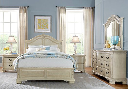 Cortinella White 5 Pc Queen Panel Bedroom - Traditional