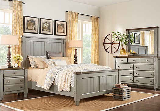 Cottage Town Gray 7 Pc Queen Panel Bedroom