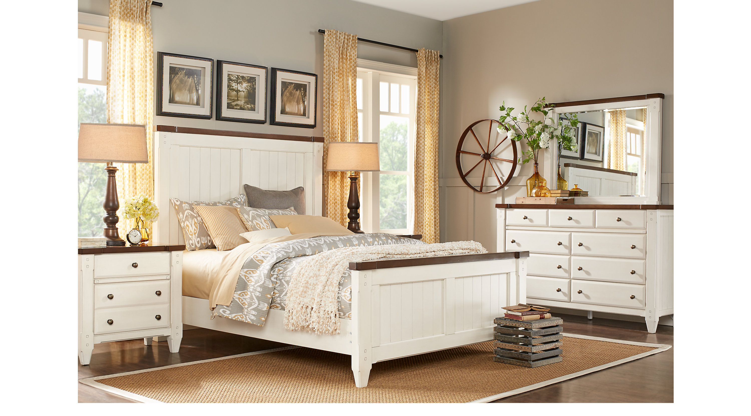 Cottage Town White 5 Pc Queen Panel Bedroom Traditional