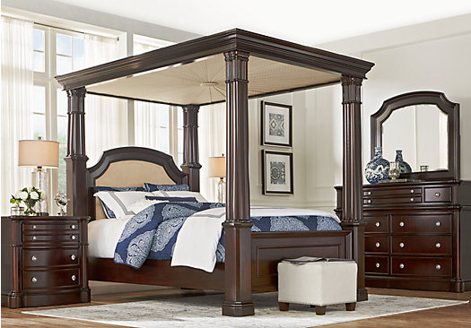 Dumont Cherry 6 Pc Queen Canopy Bedroom Traditional