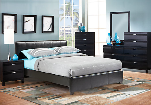 Gardenia Black 5 Pc Queen Upholstered Bedroom Contemporary