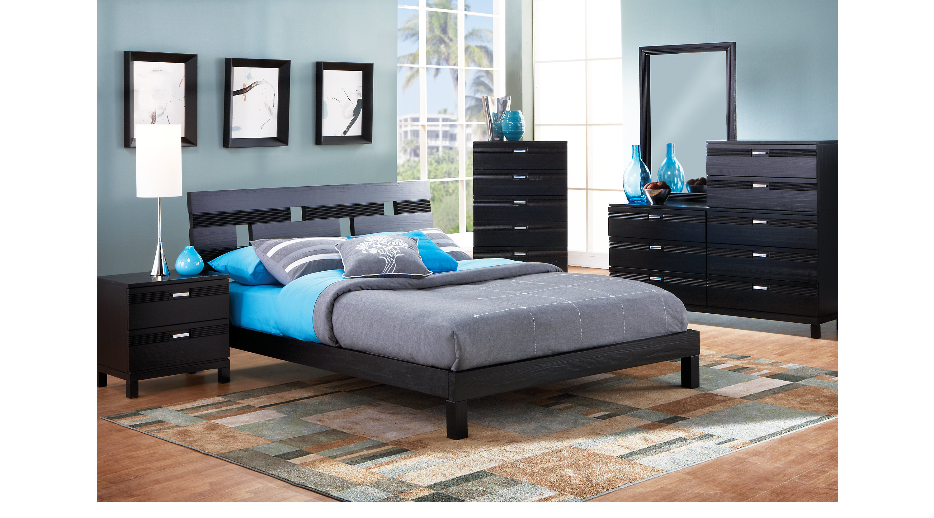 Gardenia Black 6 Pc Queen Platform Bedroom Contemporary