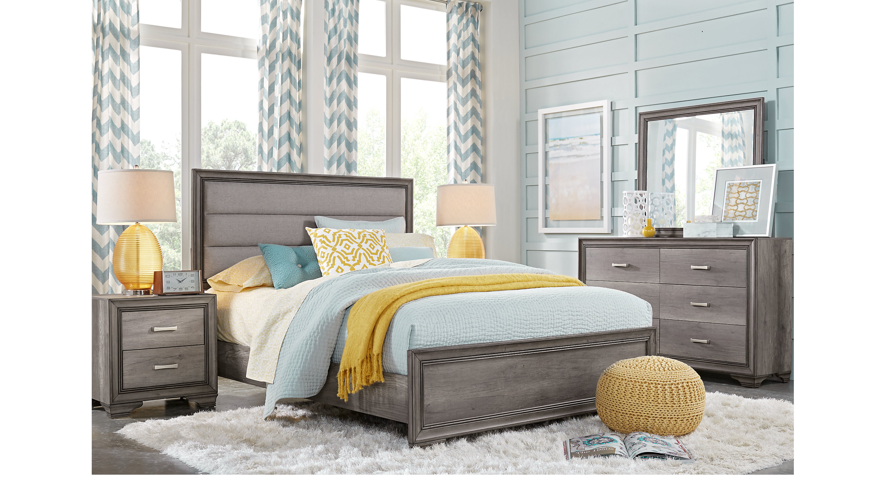 Marlow gray 5 pc queen panel bedroom transitional for 3 bedroom set