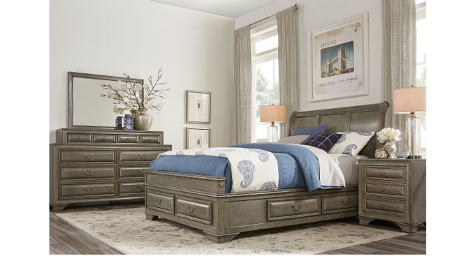 Mill Valley II Gray 7 Pc Queen Sleigh Bedroom with Storage - Traditional
