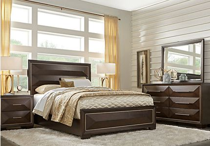 Sofia Vergara Cambrian Court Chocolate 5 Pc Queen Panel Bedroom