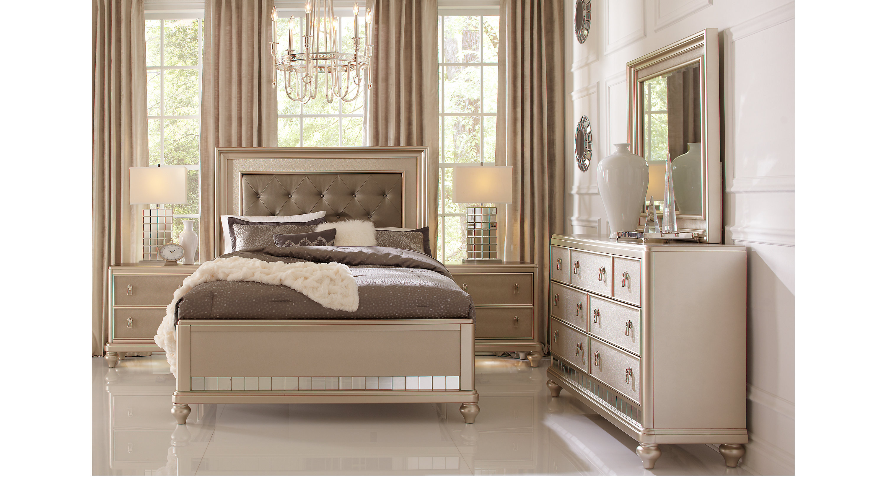 Paris Champagne 5 Pc Queen Bedroom Panel Contemporary