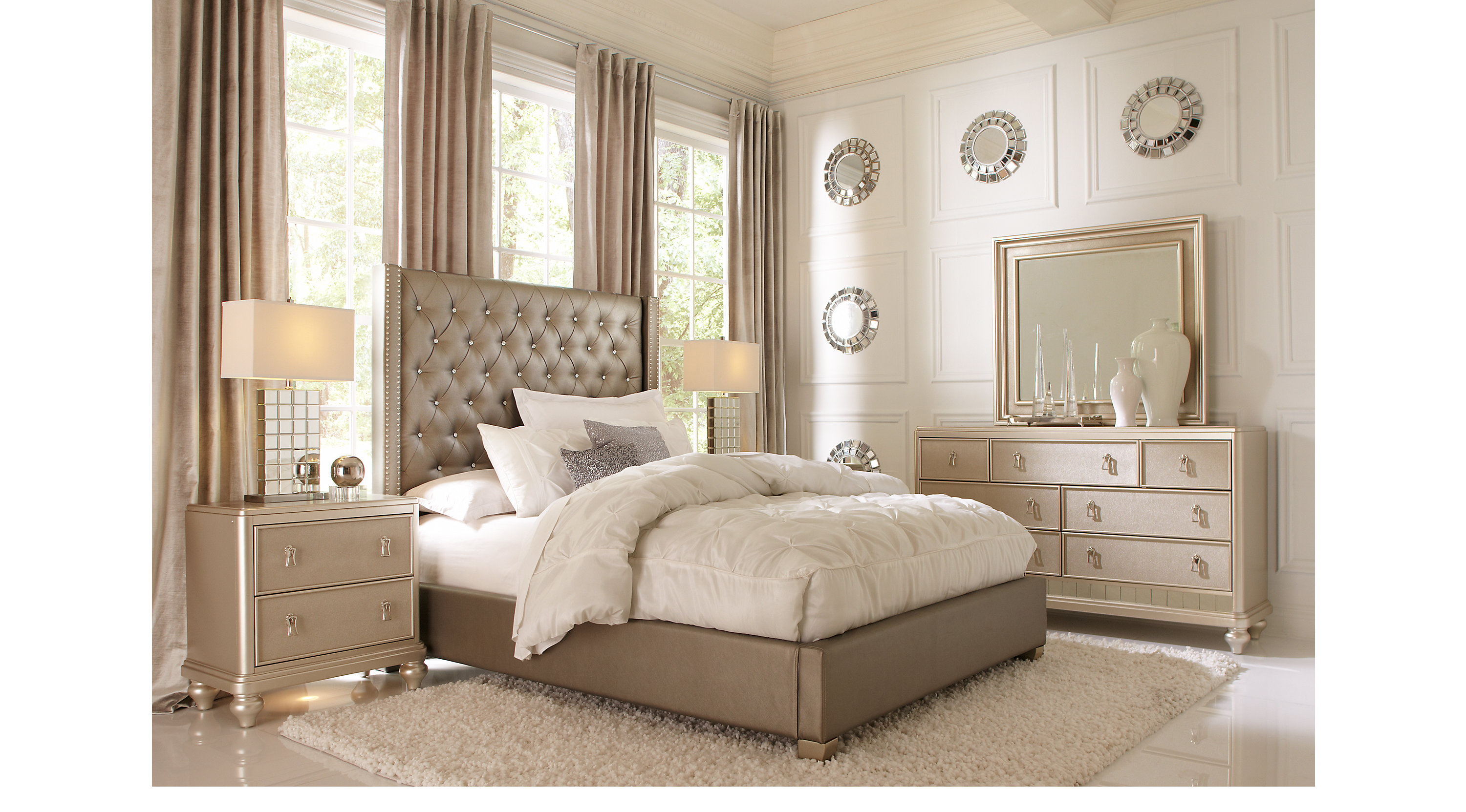 Paris gray 5 pc queen bedroom upholstered contemporary for 3 bedroom set