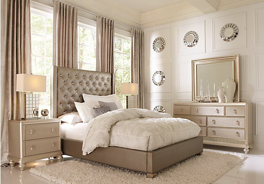 Paris Gray 5 Pc Queen Bedroom Upholstered Contemporary