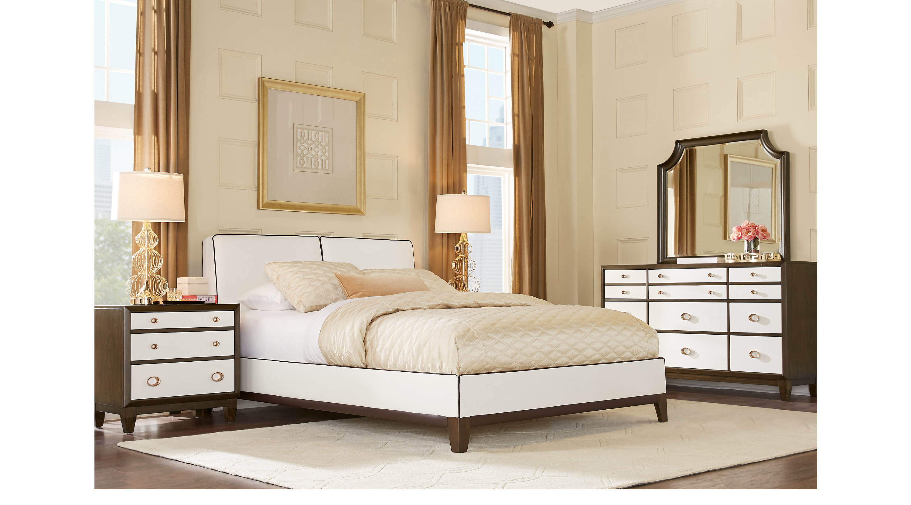 Ventana View White 7 Pc Queen Upholstered Bedroom