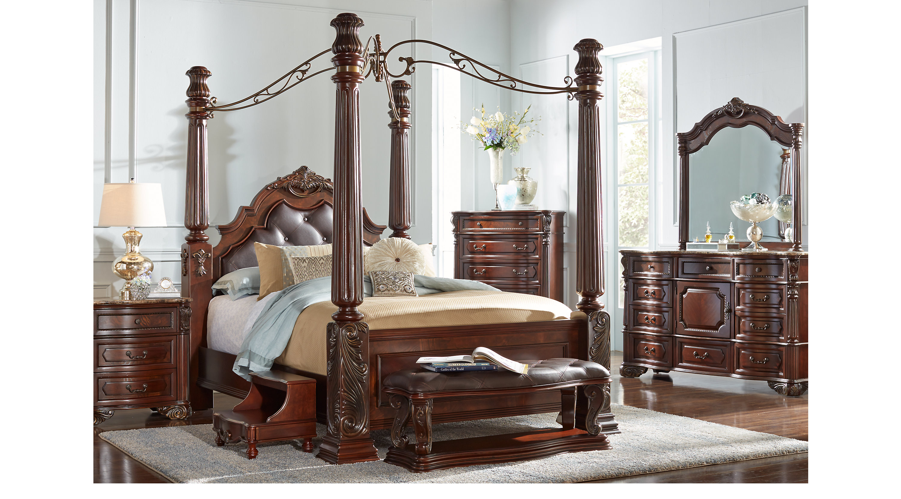 Southampton Walnut dark brown 6 Pc Queen Canopy Bedroom Traditional