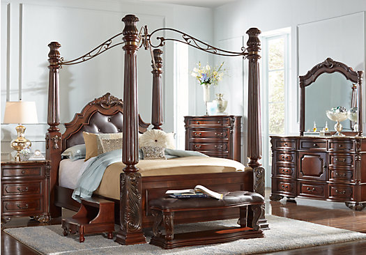 southampton walnut 9 pc queen canopy bedroom traditional