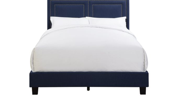 Ash (gray) ton Avenue Blue Queen Upholstered Bed