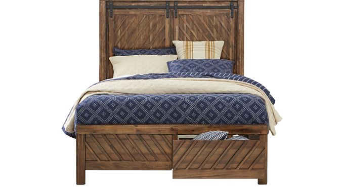 Lake Arrowhead Brown 3 Pc Queen Storage Bed - Contemporary