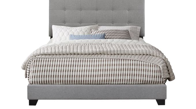 Tamara Gray Queen Upholstered Bed - Transitional