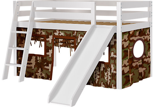 Camo Cabin White Jr. Tent Loft Bed with Slide