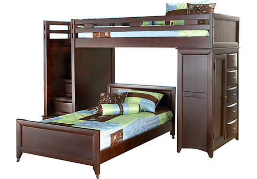 Ivy League Cherry Twin/Twin Step Loft Bunk with Chest - Loft/Chest