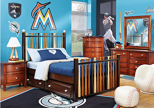 Batter Up Cherry 5 Pc Full Slat Bedroom