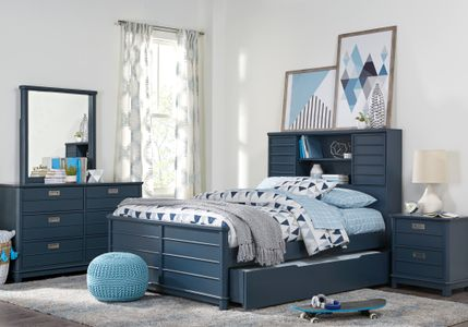 Bay Street Blue 5 Pc Full Bookcase Bedroom