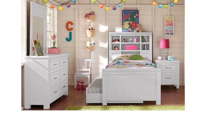 Cottage Color (alternate) s White 5 Pc Full Bookcase Bedroom