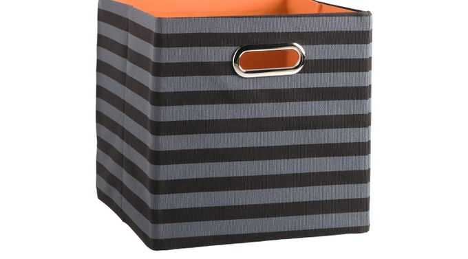 Rugby Black and Gray Striped Square Storage Bin