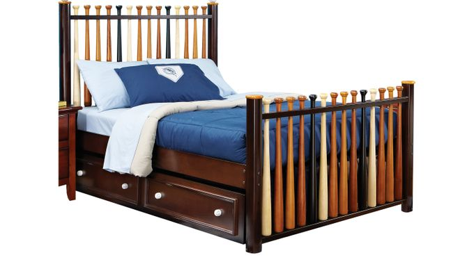 Batter Up Cherry 4 Pc Full Baseball Bed w/Trundle - Novelty
