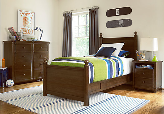Boulder Chocolate 4 Pc Twin Poster Bedroom