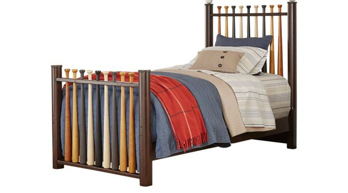 Batter Up Cherry 2 Pc Twin Baseball Bed - Slat
