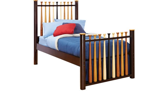 Batter Up Cherry 3 Pc Twin Baseball Bed - Slat