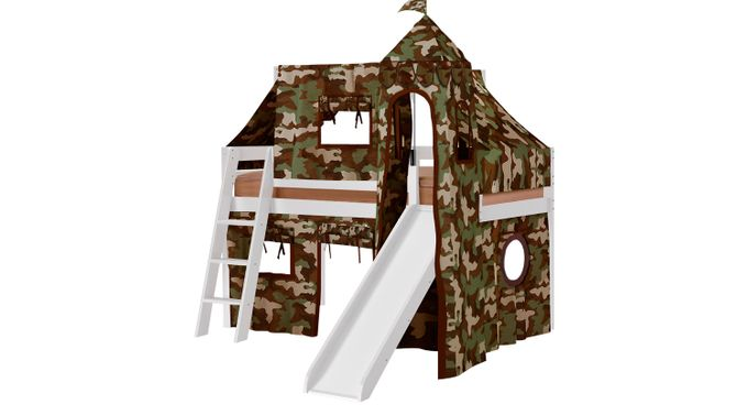 Camo Cabin White Jr. Tent Loft Bed with Slide, Top Tent and Tower