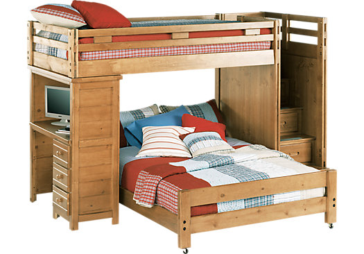Creekside Taffy Twin/Full Step Bunk Bed with Desk - Bunk/Desk