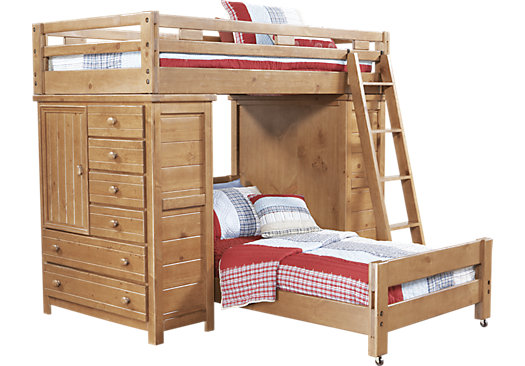creekside taffy twintwin student loft bed with chests
