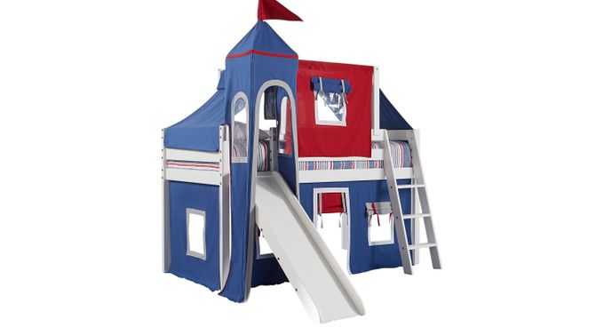 Freedom Fort White Jr. Tent Loft Bed with Slide, Top Tent and Tower