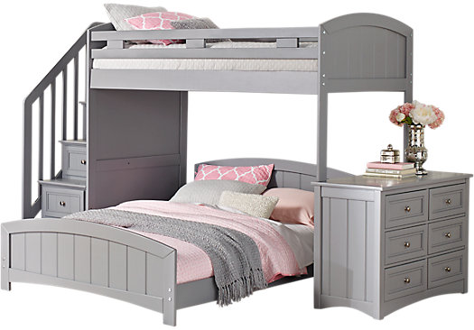 bunk bed with dresser cottage color alternate s gray step loft with 14672