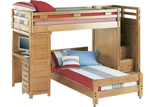 Home Kids Boys' Rooms Twin Beds Creekside Taffy Twin/Twin Step Bunk ...