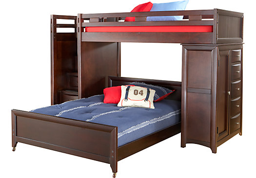ivy league cherry twinfull step loft bunk with chest