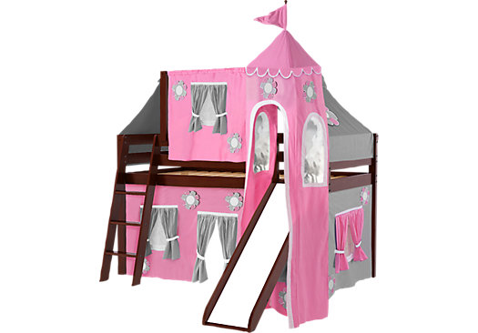 pink cottage cherry jr tent loft bed with slide top tent and tower. Black Bedroom Furniture Sets. Home Design Ideas
