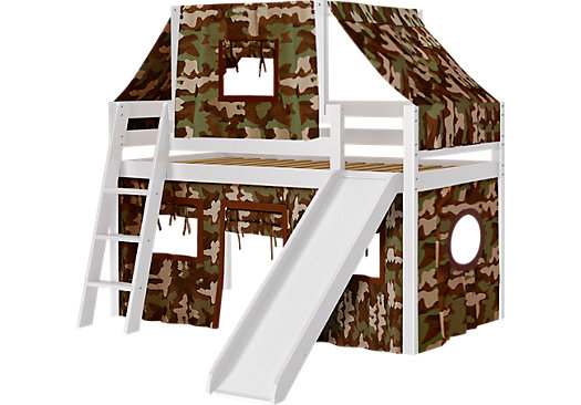 Camo Cabin White Jr. Tent Loft Bed with Slide and Top Tent