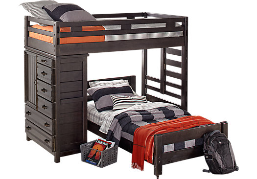 creekside charcoal twintwin student loft bed with chest