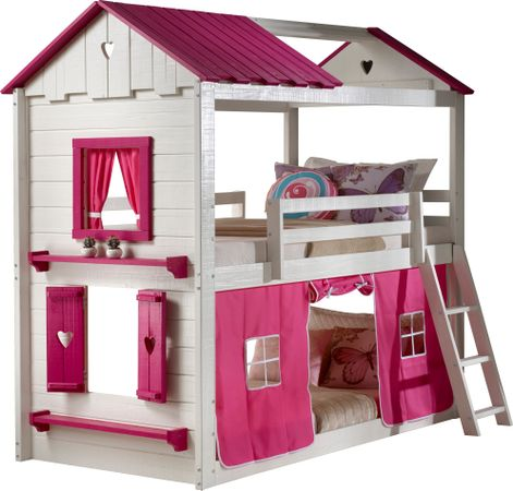Heartbeat Cottage White Twin/Twin Bunk Bed with Pink Fabric