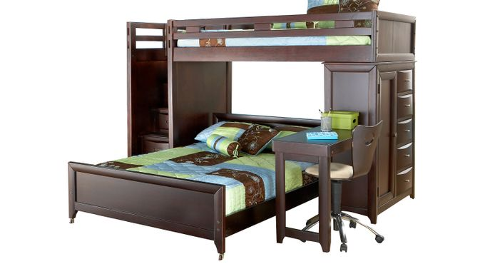 Ivy League Cherry Twin/Full Step Loft Bunk with Chest and Desk - Loft/Chest/Desk